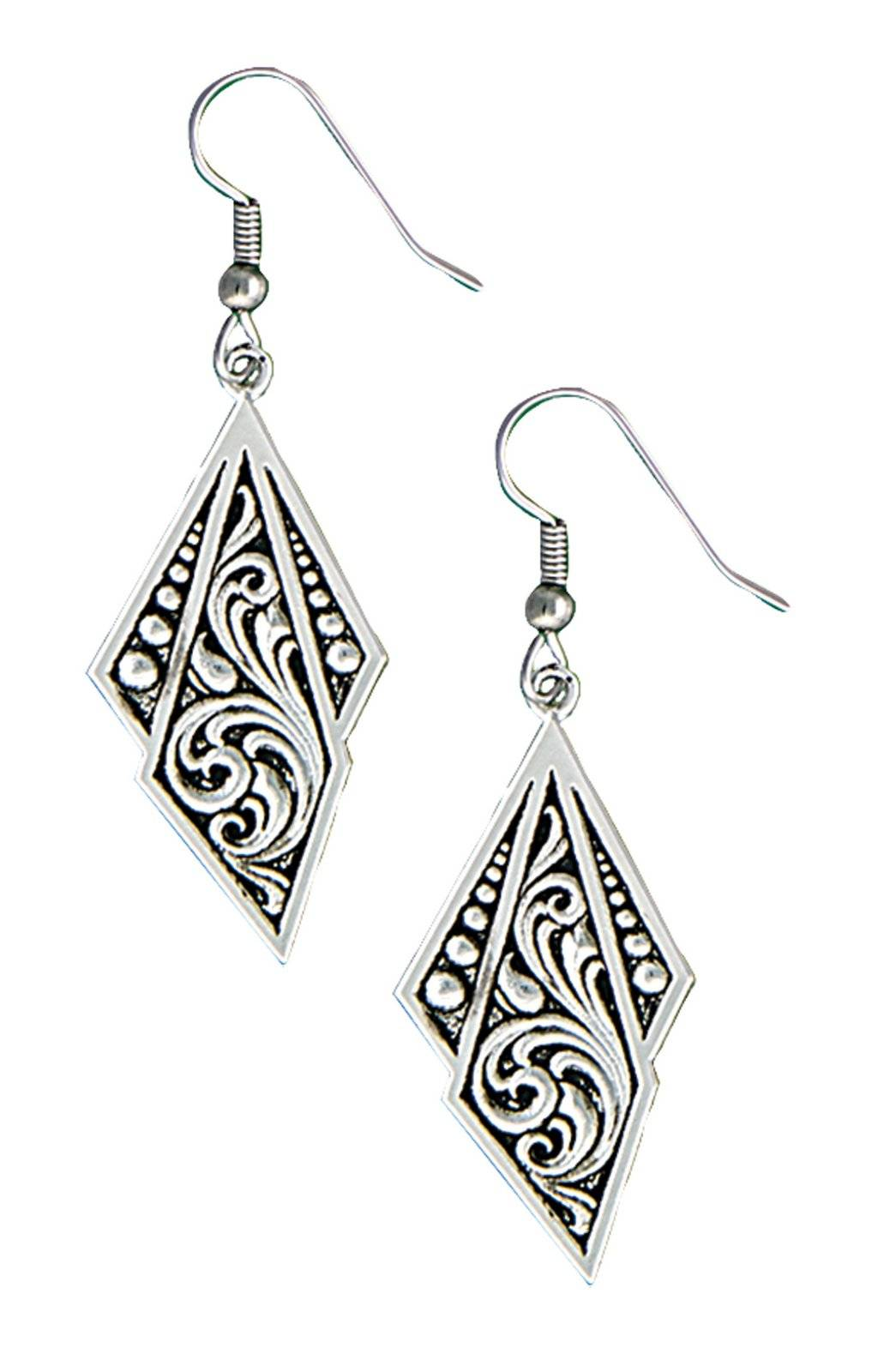 Montana Silversmiths Western Deco Silver Jewel Dangle Earrings