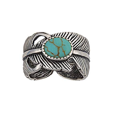 Montana Silversmiths Antiqued Silver Plume And Turquoise Ring