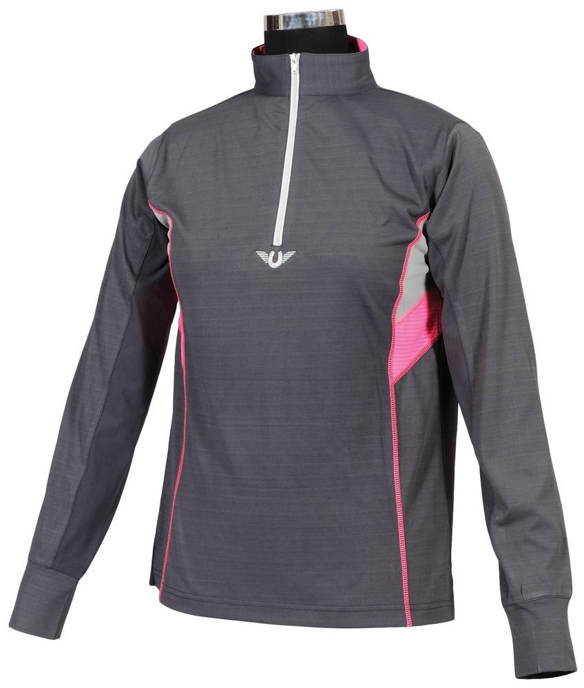 Tuffrider Neon Ventilated Polo - Ladies, long sleeve