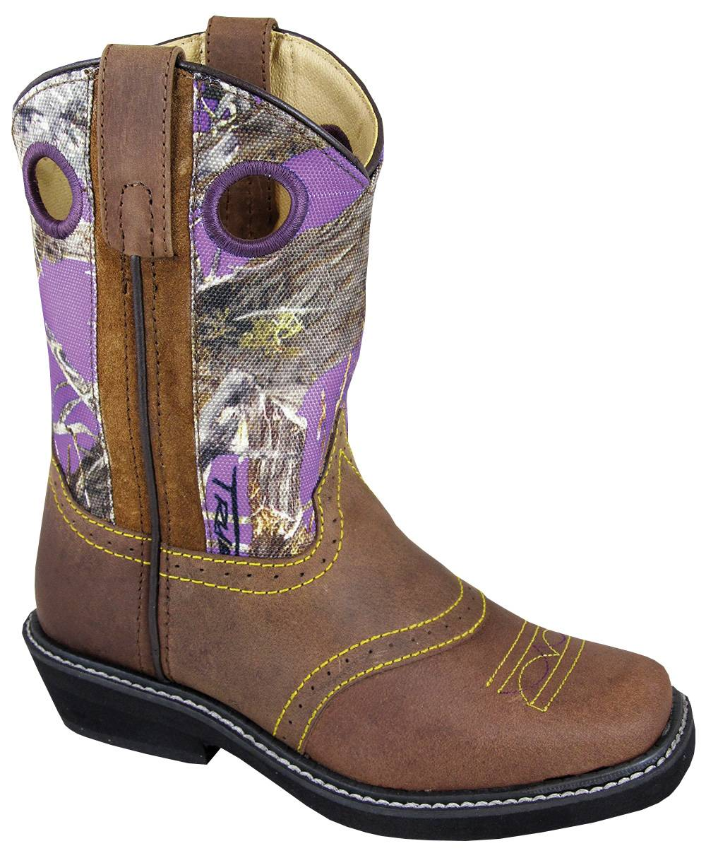 Smoky Mountain Cypress Square Toe Crepe Boot - Kids, Brown/Purple