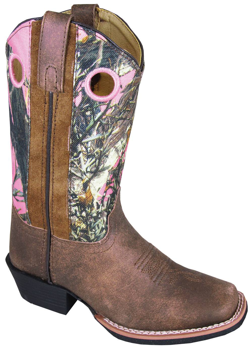Smoky Mountain Mesa Square Toe Boots - Youth, Brown/Pink Camo