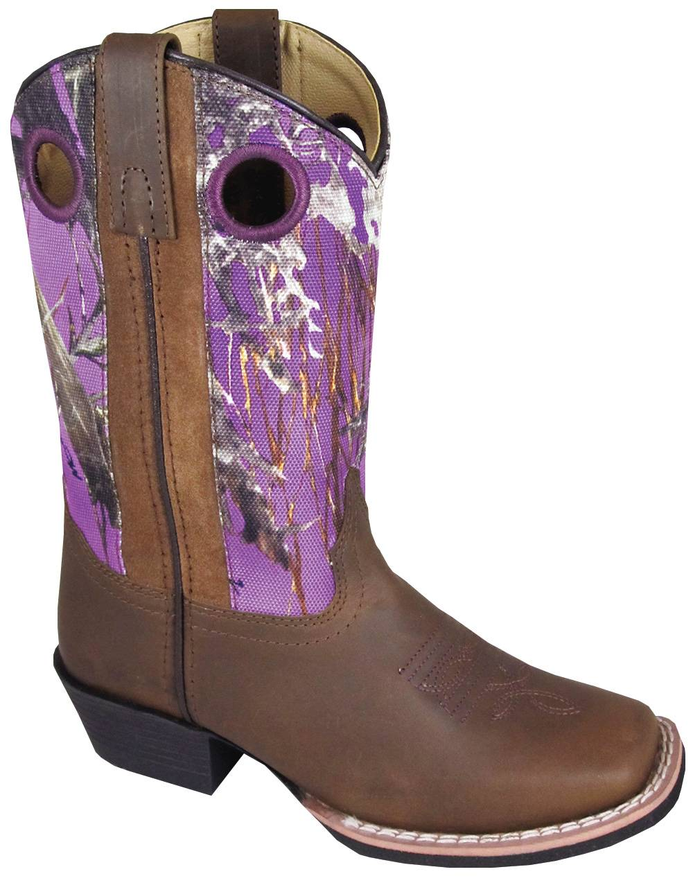 Smoky Mountain Mesa Square Toe Boots - Kids, Brown/Purple Camo