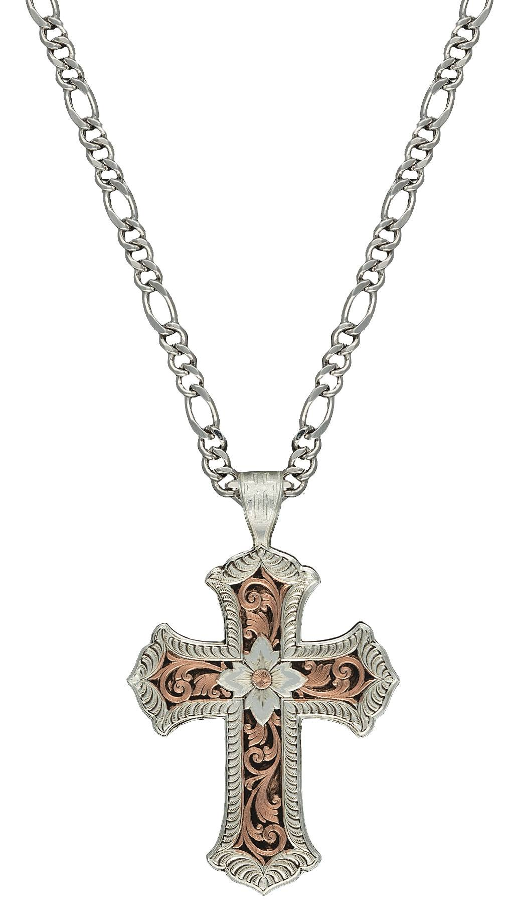 Montana Silversmiths Antiqued Rose Gold Scalloped Cross Necklace