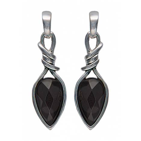 Montana Silversmiths Bittersweet Barbed Wire Pear Shaped Onyx Drop Earrings