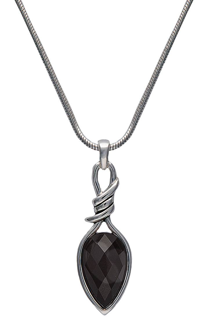 Montana Silversmiths Bittersweet Barbed Wire Pear Shaped Onyx Necklace