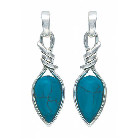 Montana Silversmiths Bittersweet Barbed Wire Pear Shaped Turquoise Drop Earrings