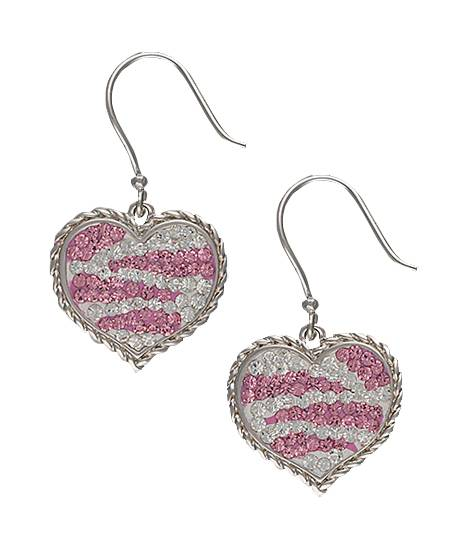 Montana Silversmiths Candied Collection Hearts with Pink Zebra Stripes Earrings