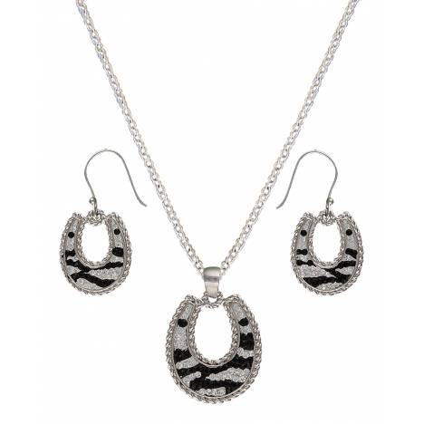 Montana Silversmiths Candied Horseshoes with Zebra Stripes Jewelry Set