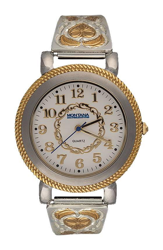 Montana Silversmiths Hearts of Gold Large Face Ladies Expansion Band Watch
