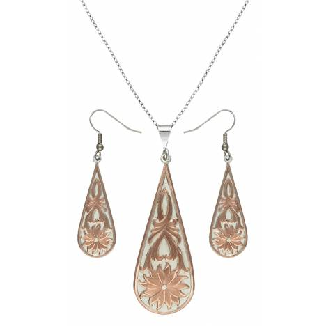 Montana Silversmiths Rose Gold Bitterroot Drops Jewelry Set