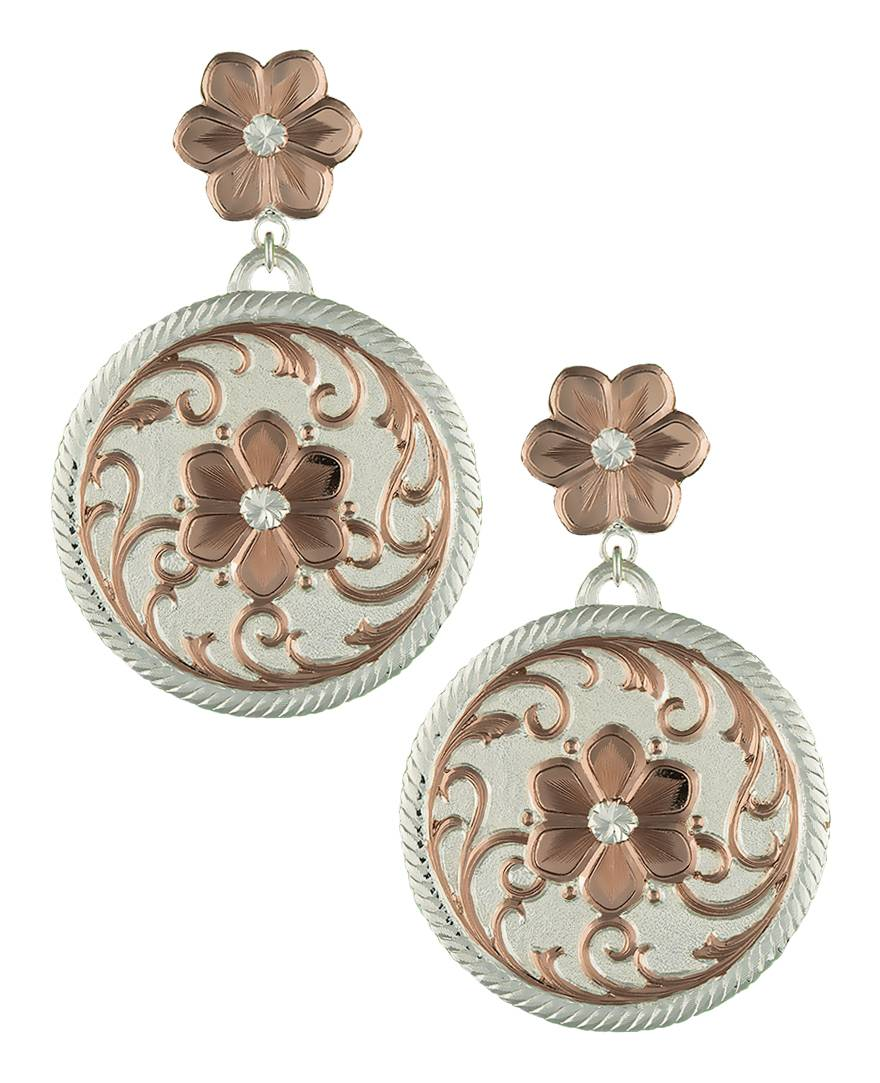 Montana Silversmiths Rose Gold Flower Reflections Dangle Earrings