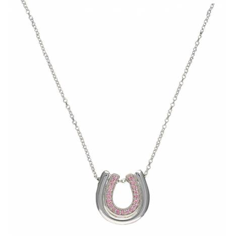 Montana Silversmiths Silver Tone and Pink Nested Horseshoes Necklace