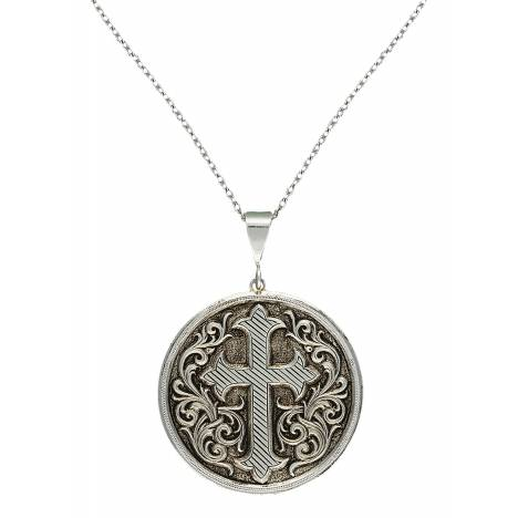 Montana Silversmiths Silver-Tone Antiqued Cross Fleury Concho Necklace