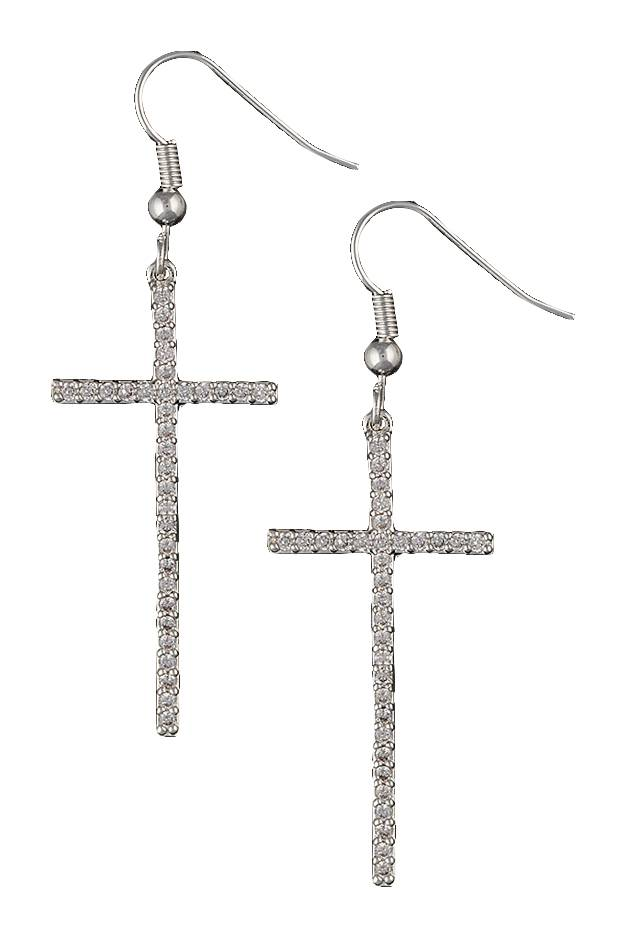 Montana Silversmiths The Straight Path Cross Earrings in Antique