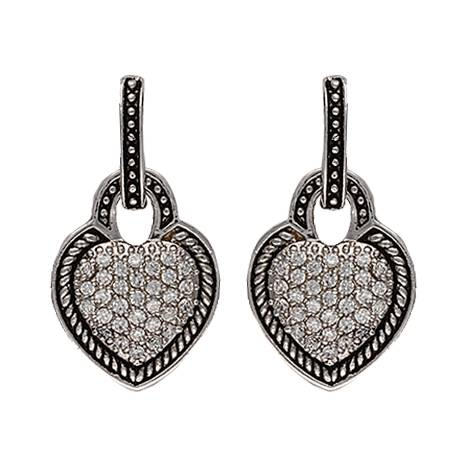 Montana Silversmiths Vintage Charm Quilted Heart Drop Earrings