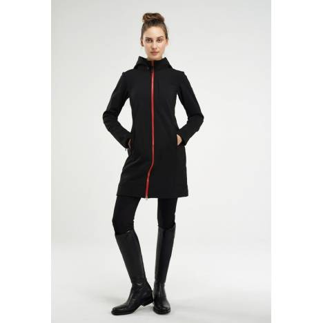 Asmar Ladies All Weather Rider Coat- Black/Red