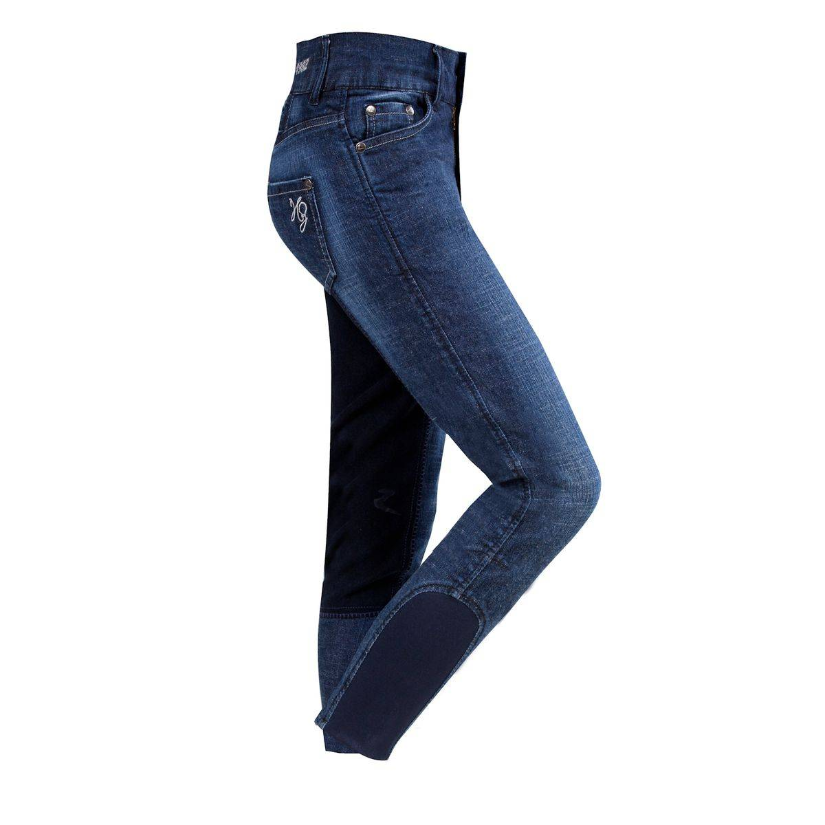 Horze CARLA JR Denim Breeches - Kids, Full Seat
