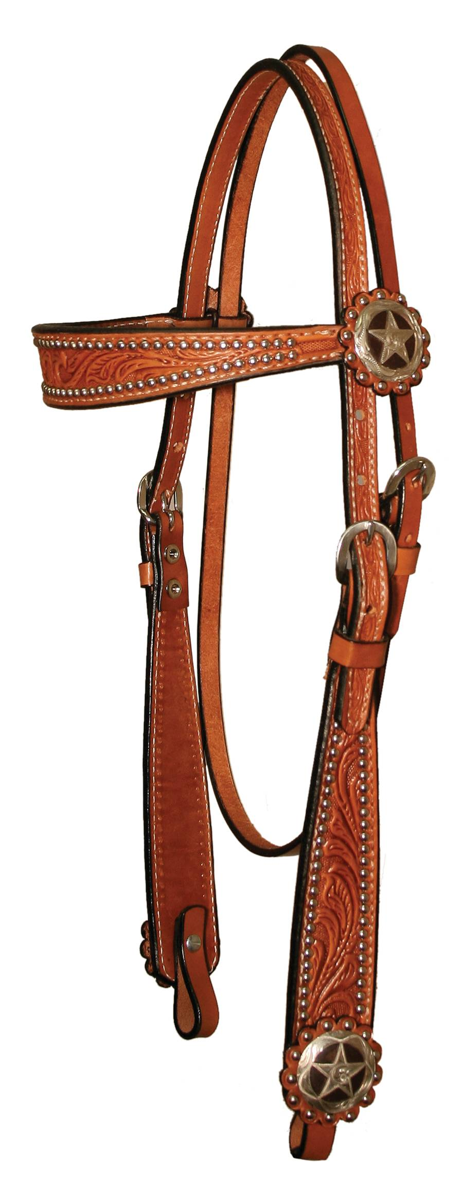 Circle Y Iron Star ConchoFloral Tooled Browband Headstall