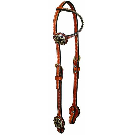 Circle Y One Ear Filigree Concho & Spots Headstall