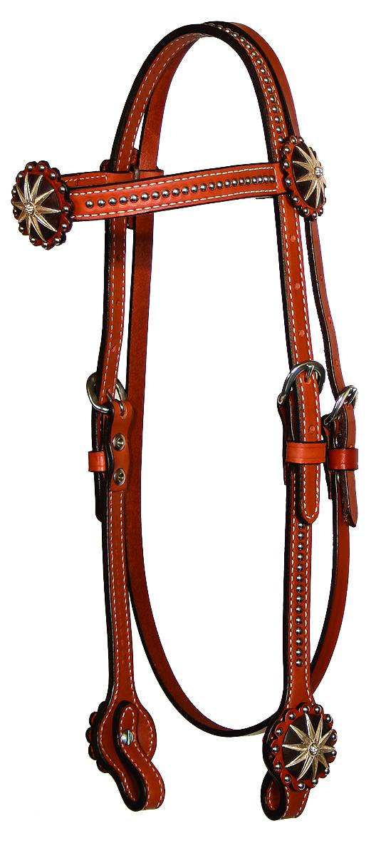 Circle Y Iron Spur & Spots Browband Headstall