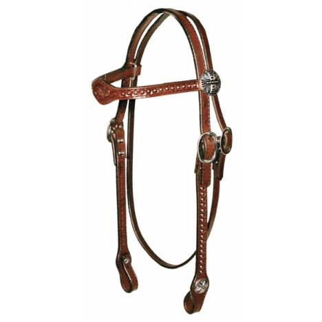 Circle Y Floral Tooled Flared Browband Headstall