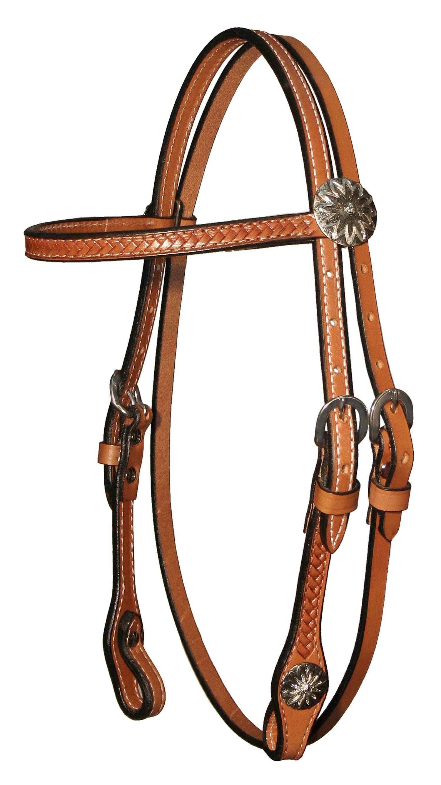 Circle Y Gag Cheek Daisy Concho Browband Headstall