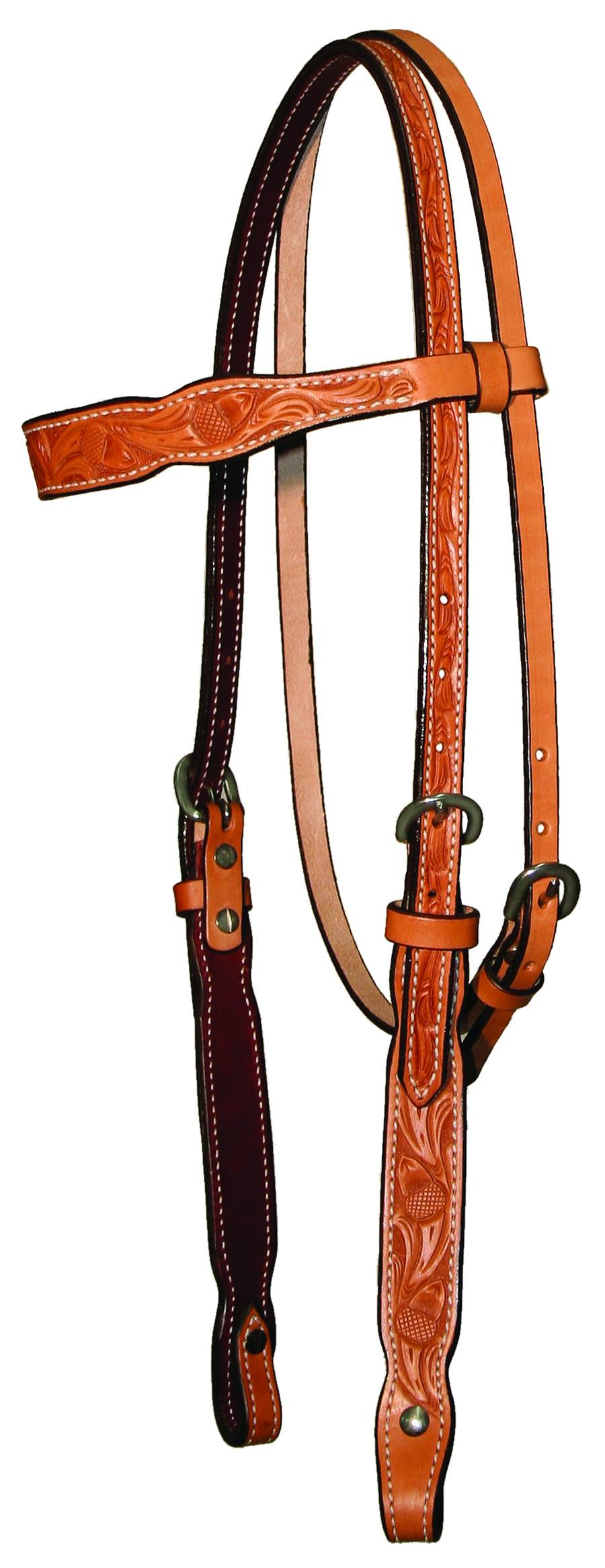 Circle Y Shaped Acorn Tooled Browband Headstall