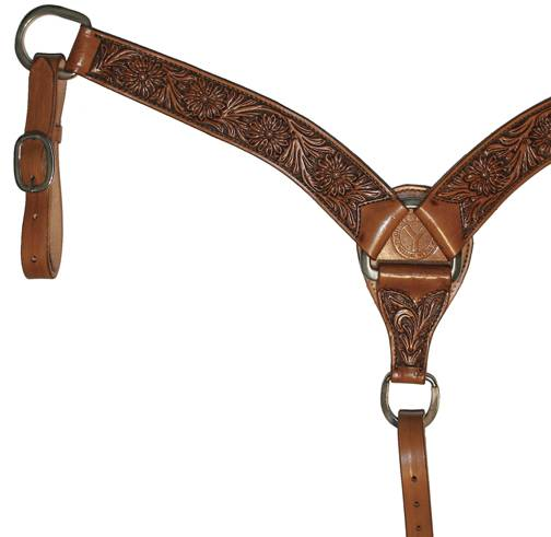 Circle Y Roper Lily Floral Tooled Breast Collar