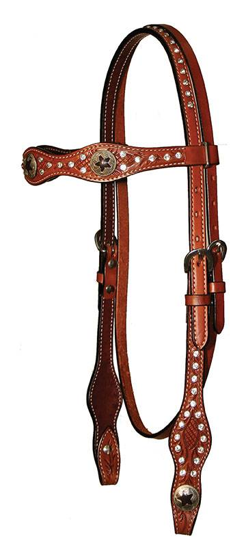 Circle Y Scalloped Star Concho Browband Headstall