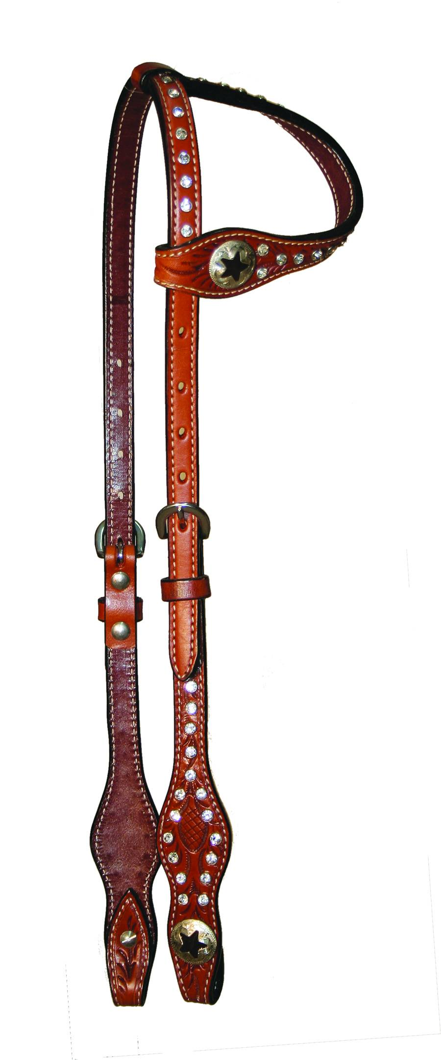 Circle Y One Ear Scalloped Star Concho Headstall
