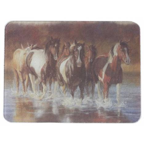 Gift Corral Horses In A Stream Cutting Board