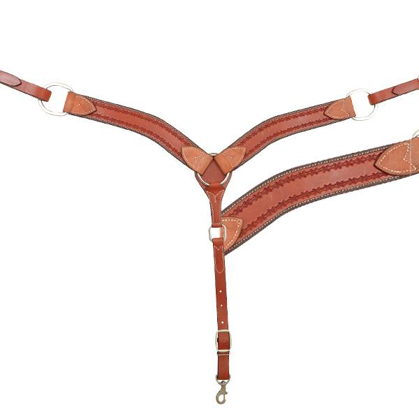 "Cashel 2"" Breast Collar - Chestnut Barbwire"