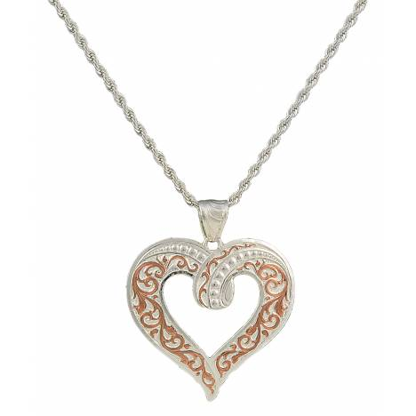 Montana Silversmiths Two Tone Copper Ribbon Heart Necklace