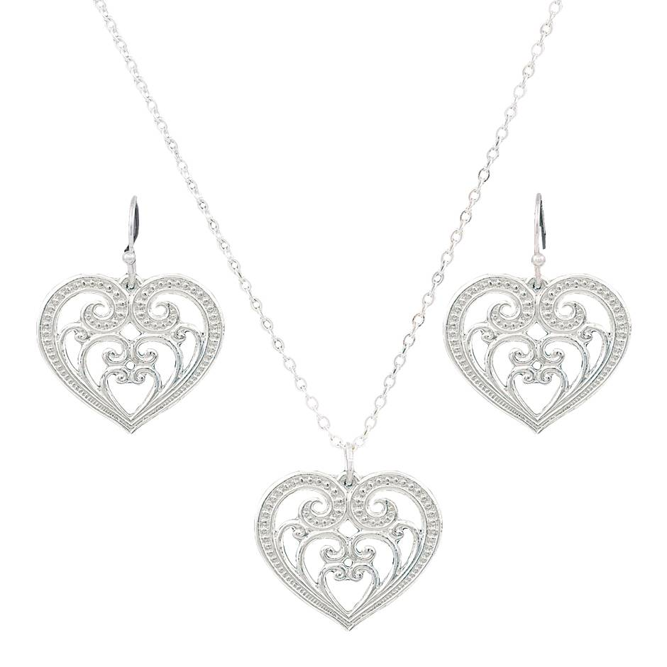 Montana Silversmiths Petit Blooming Heart Jewelry Set
