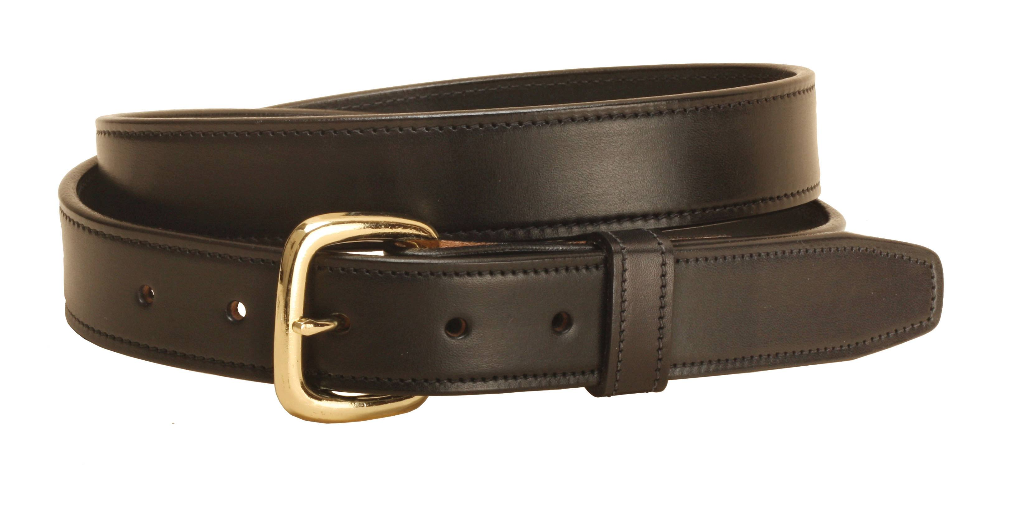 TORY LEATHER 1 1/4'' Stitched Belt with Brass Buckle