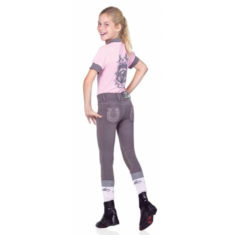 Ovation Kids Pull On Horseshoe Jean Breeches - Knee Patch