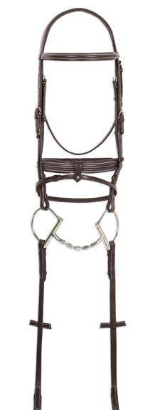 Ovation Double Raised Padded Bridle with Rubber Reins