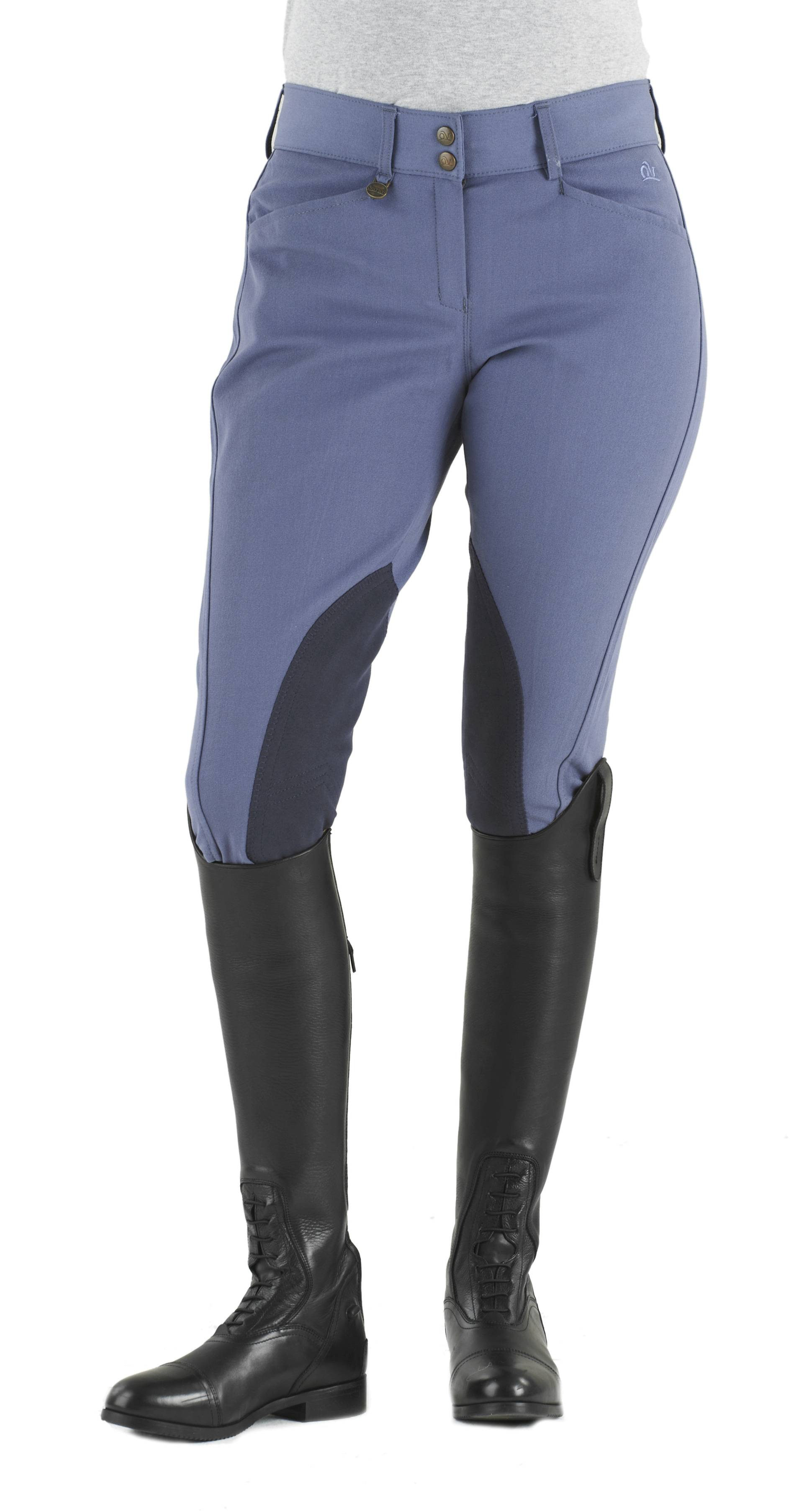 Ovation Euroweave DX Taylored Front Zip Breeches - Ladies, Knee Patch