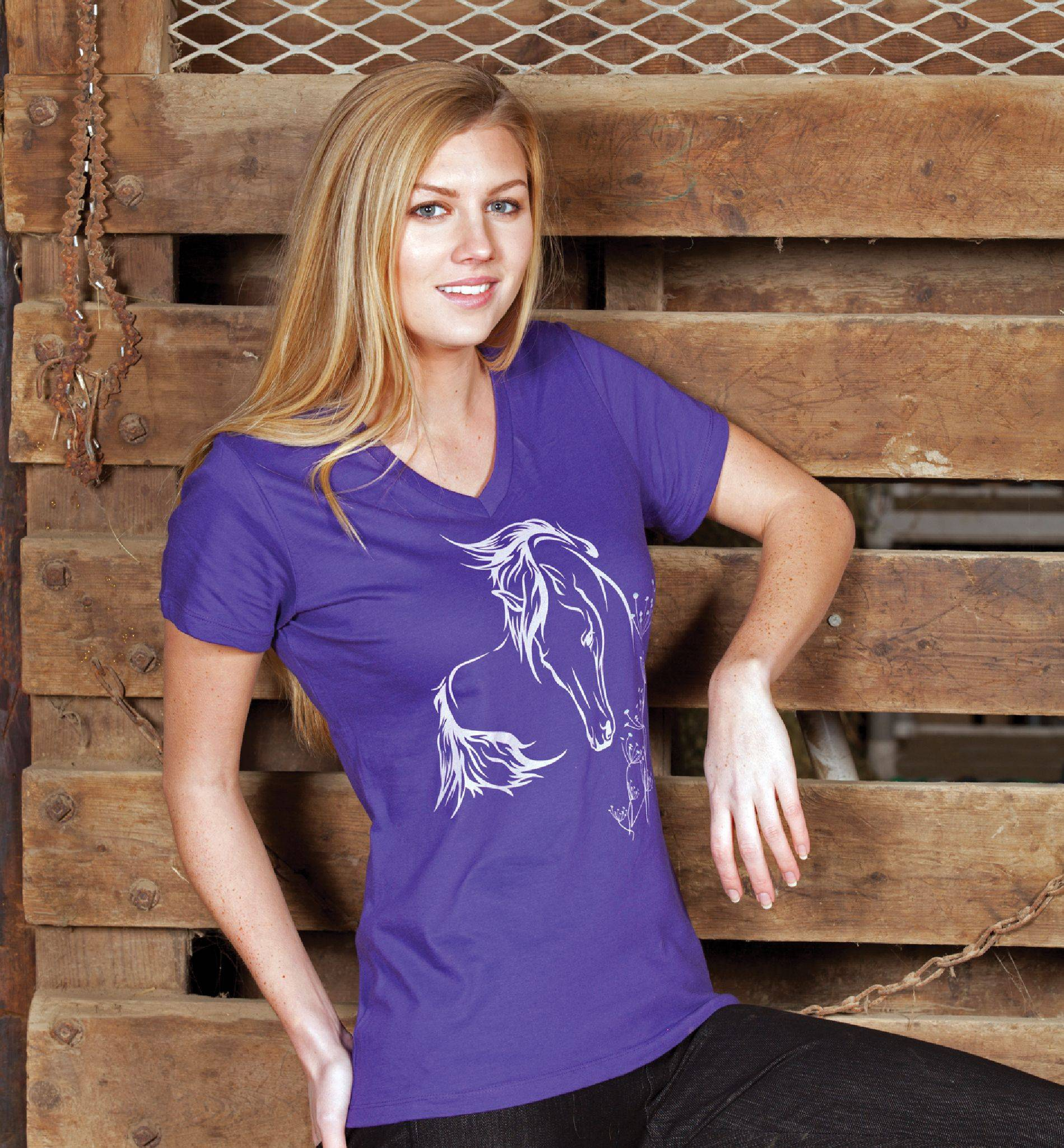 Geniune Ranch Brand Fantasy Horse Tee - Ladies