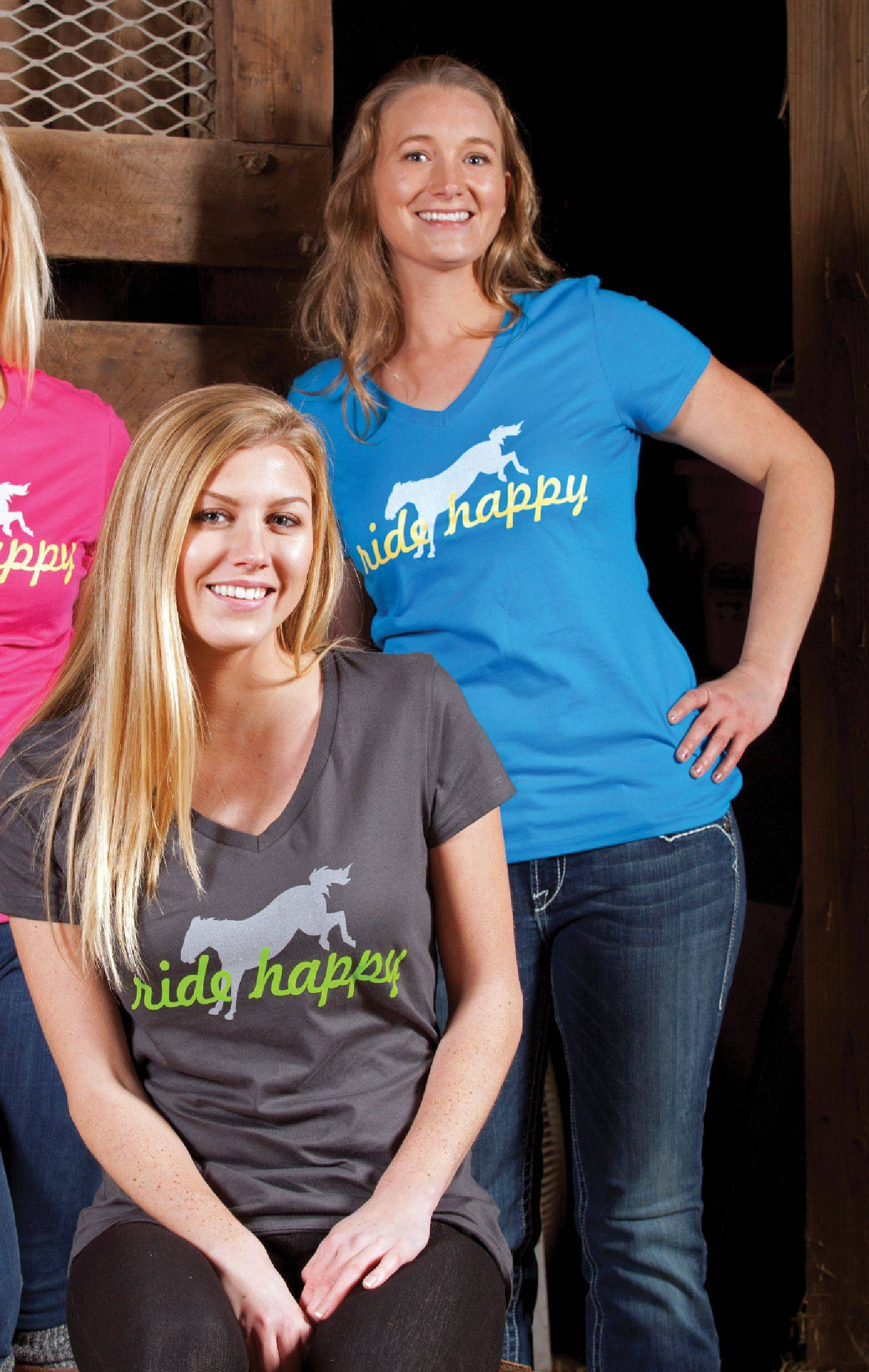 Genuine Ranch Brand Ride Happy V Neck Tee - Ladies