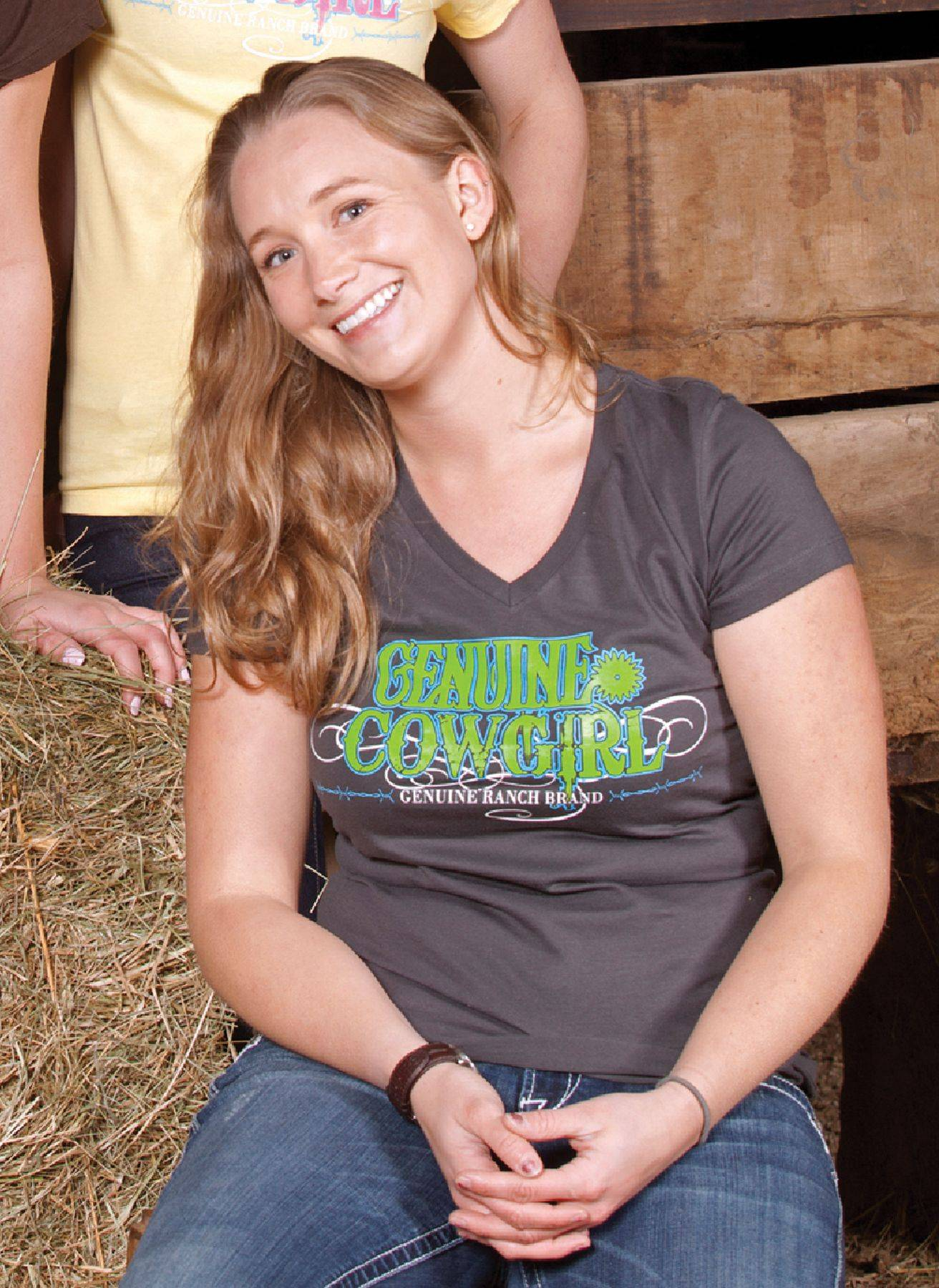 Genuine Ranch Brand Genuine Cowgirl Logo V Neck Tee - Ladies