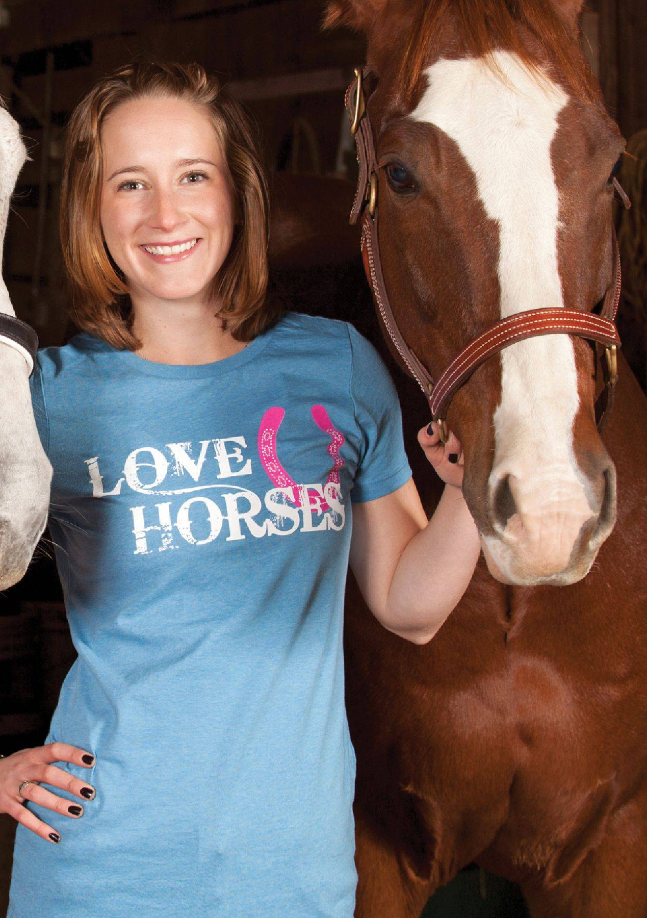 Genuine Ranch Brand Love Horses Crew Neck Tee - Ladies