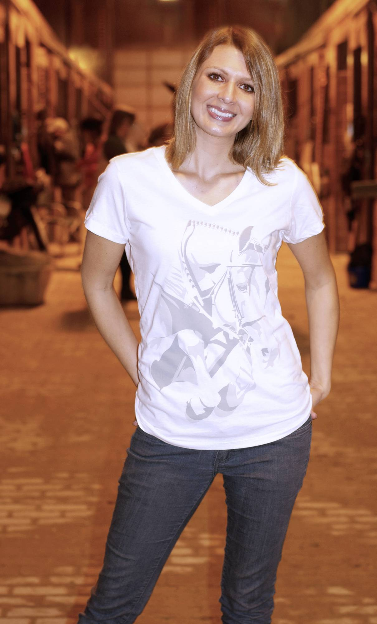 Genuine Equestrian Grand Prix V-Neck Tee - Ladies