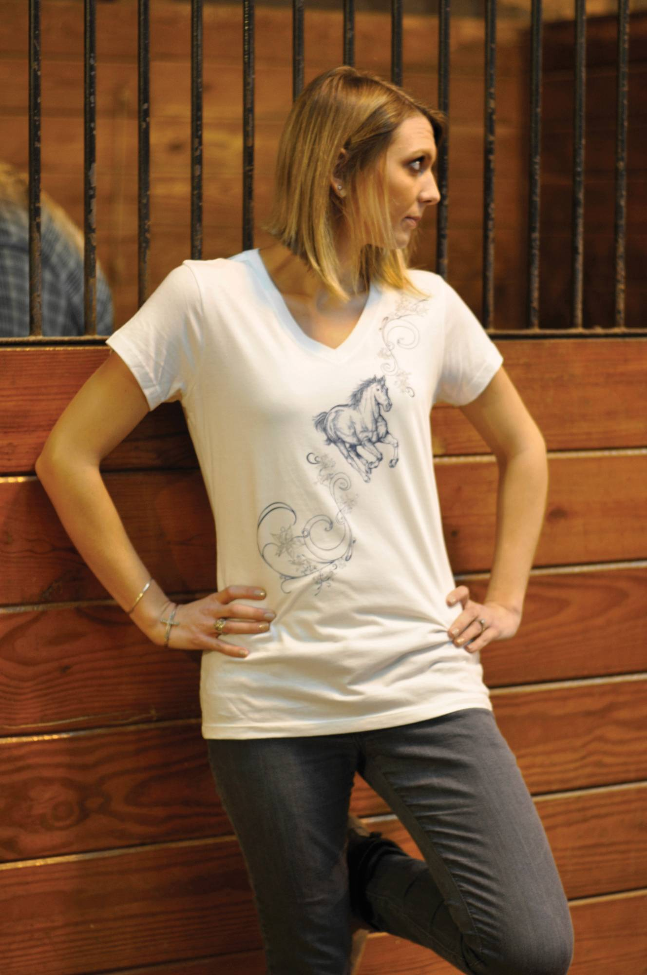 Genuine Equestrian Floral Horse V-Neck Tee - Ladies