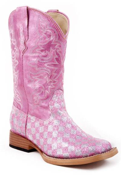 Roper Square Toe Faux Leather Boots - Girls, Pink