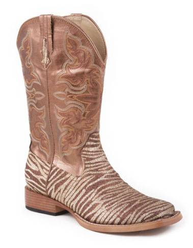 Roper Square Toe Glitter Boots - Ladies, Brown/Gold
