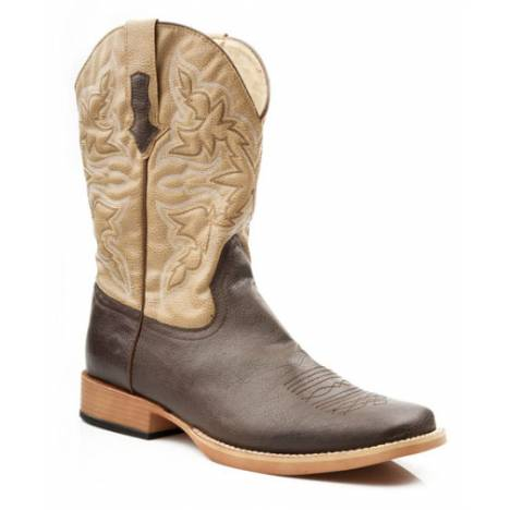 Roper Square Toe Faux Leather Western Boots - Mens, Brown