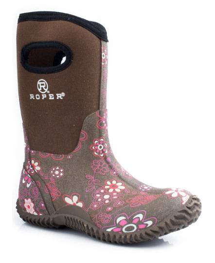 Roper Tall Barnyard Boots - Kids, Brown Floral