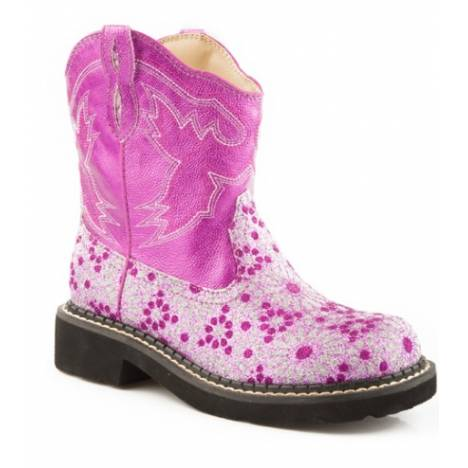 Roper Chunk Faux Leather Bling Floral Boots - Kids, Pink