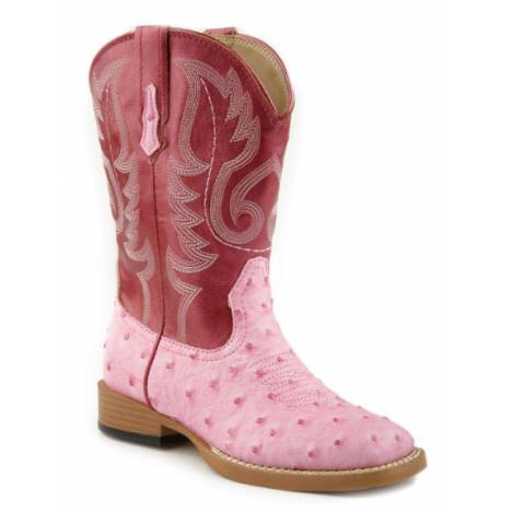 Roper Ostrich Print Square Toe Boots - Kids, Pink
